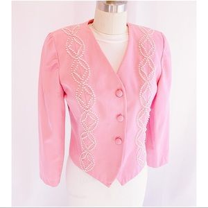 Pink 80s / 90s blazer pearl embellishment, vintage